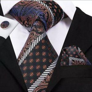 Men's Silk Coordinated Tie Set - Brown Black